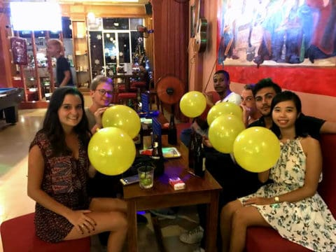 happy Laughing Balloons at The Rabbit Hole Irish Bar in Phu Quoc Vietnam