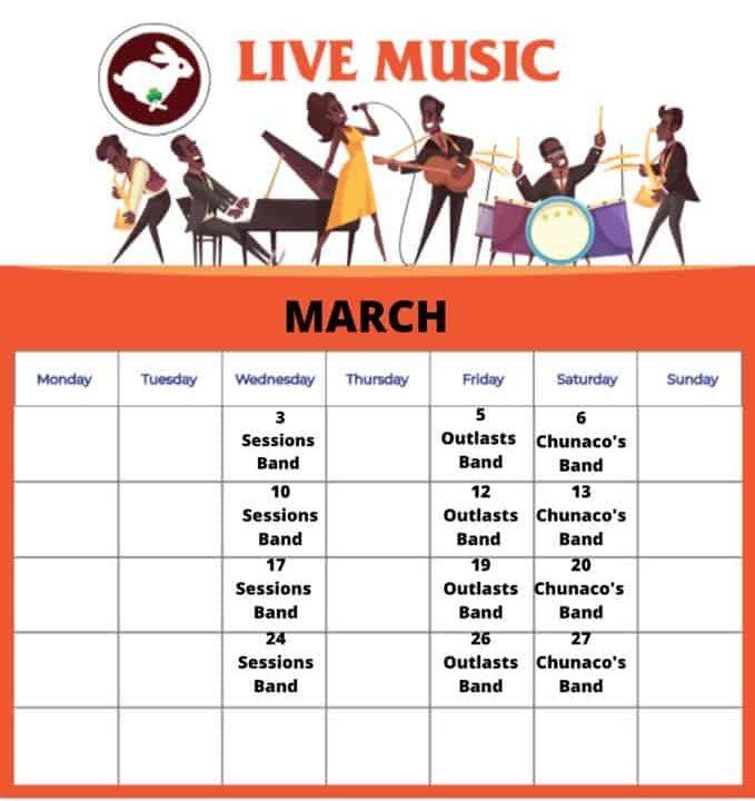 Live music schedule 2021 March